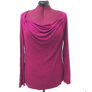 XL MOSSIMO Raspberry Cowl Scoop Neck Long Sleeved